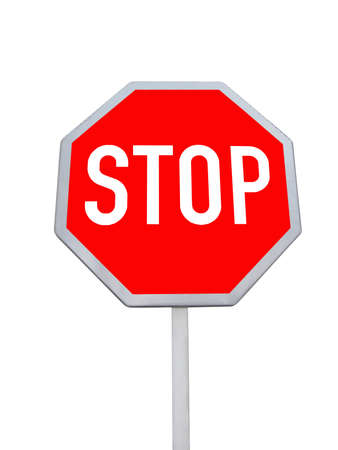 stop road sign  red color  isolated in white background