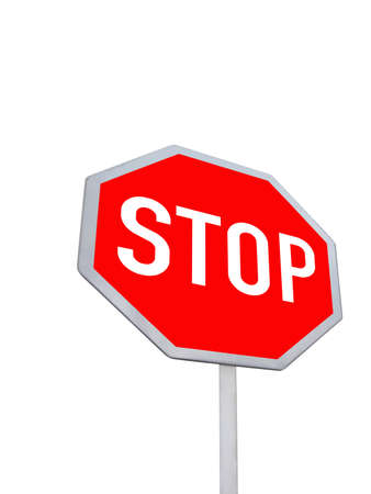 stop road sign  red color  isolated in white background   Stock Photo - 13815086