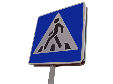One road sign in sunny day  place where pedestrian may cross the street  highway   Colorful illustration with clouds on the blue sky  See on sign before moving - your security in your hands  carefully read and understand the road sign - the best way to re illustration