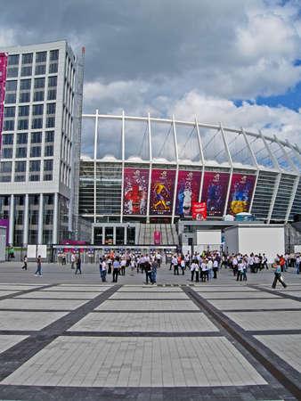 olimpiysky: KIEV, UKRAINE - JUNE 15: Renewed Olympic Sport Stadium before match Sweden-England on June 15, 2012 in Kiev, UKRAINE. National Sport complex Olimpiysky selected as stadium for final EURO 2012 football championship in Ukraine.  Editorial