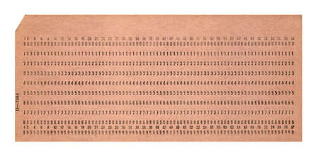 punched: vintage punched card isolated on white background, retro technology details Stock Photo