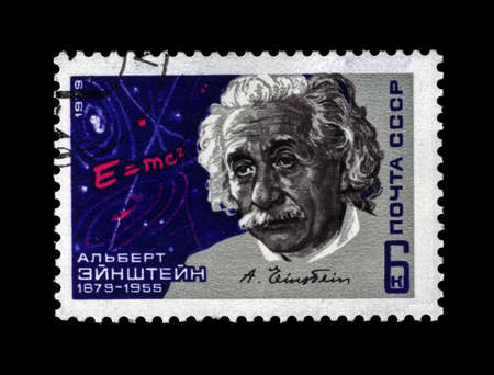 USSR - CIRCA 1979  cancelled stamp printed in USSR shows scientist Albert Einstein, circa 1979  vintage post stamp isolated on black background