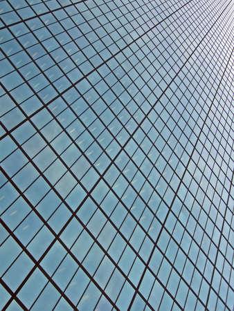 abstract glass windows heap, modern skyscrapper technology details