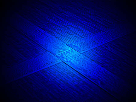 magic blue power over abstract cross brick wall, modern architecture details photo
