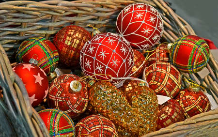 christmas sphere heap in wooden container, holiday diversity details photo