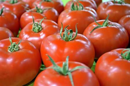 focus on center  fresh red tomato pile, natural food details