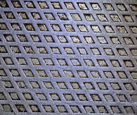 focus on center  vintage silver metal surface, closeup grid texture details photo