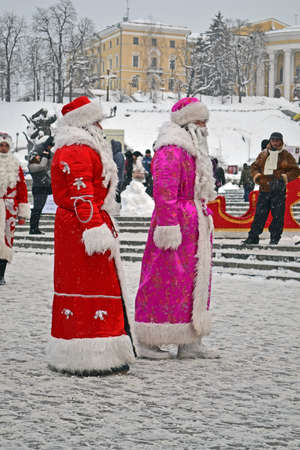 KIEV - DEC 22: Santa Clasus (Did Moroz) greets people on December 22, 2012 in Kiev, Ukraine. Santa Clasus Parade starts on Dec 22 on Kreshatik street in Kiev. Stock Photo - 17063289