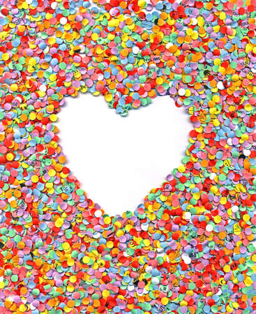 love, heart, confetti, rainbow background, paper texture closeup Stock Photo - 17425510