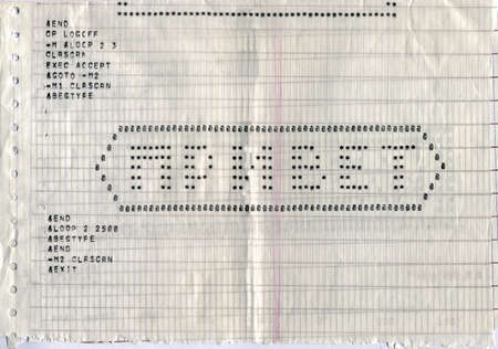 vintage program code on perforated paper, hello message on russian language Stock Photo - 17452801