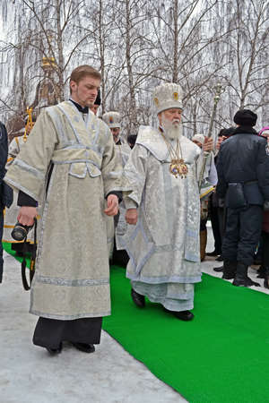 sanctification: KIEV - JAN 19: Epiphany (Kreshchenya) on January 19, 2013 in Kiev, Ukraine. Epiphany known since 988 AD. Editorial