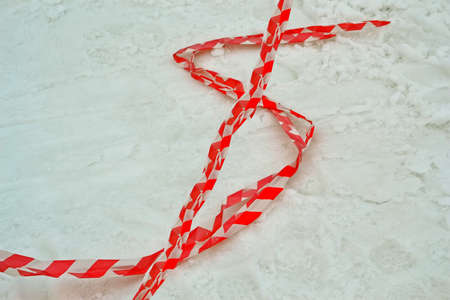dollar sign from red stripped pvc cord on the snow, modern security details Stock Photo - 17757518