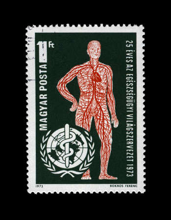 HUNGARY - CIRCA 1973: stamp printed in Hungary, shows vascular system and WHO Emblem (25th anniversary of WHO), circa 1973. vintage post stamp isolated on black background.