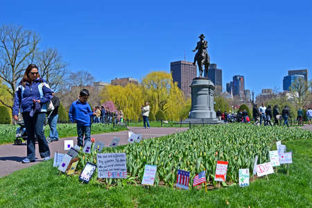 BOSTON - APR 21: Support flags near Washington monument in Public Garden in Boston, USA on April 21, 2013. Boston Marathon bombing take part on April 15, 2013. More 27000 runners take part in marathon, 3 were killed and over 100s were injured.