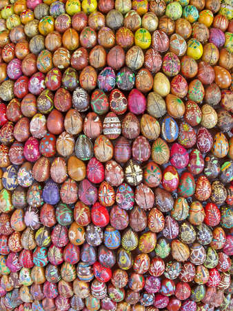 UKRAINE, KIEV - AUG 19: The fragment of sculpture of 3000 painted Easter eggs made by children and gifted to Kyiv Pechersk Lavra on August 19, 2012 in Kiev, Ukraine.