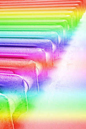 mystic place: rainbow lines heap, disco industry details Stock Photo