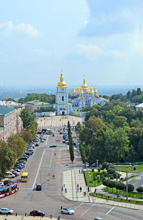 KIEV, UKRAINE - JUL 27: Michaels Cathedral on July 27, 2013 in Kiev, Ukraine. The monastery is located on the right side of the Dnieper River.