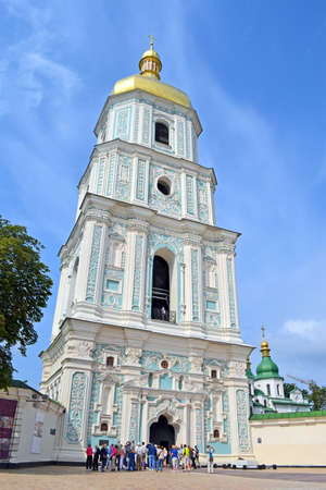 KIEV, UKRAINE - JUL 27: Saint Sophias Cathedrall on July 27, 2013 in Kiev, Ukraine. Saint Sophia is a Kiev Metropoliss cathedral temple (1037-1299) and second one after the Church of the Tithes.