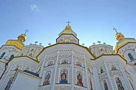 KIEV, UKRAINE - JUL 25  Kiev-Pechersk Lavra dome on blue sky on July 25, 2013 in Kiev, Ukraine  Kiev celebrates 1025th anniversary of Kyivan Rus Christianity on July 26-28, 2013