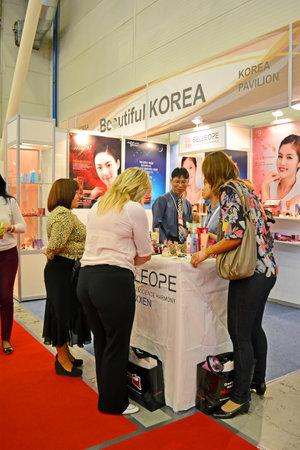 tradeshow: KIEV - SEP 18: InterCHARM Ukraine exhibition in Kiev, Ukraine on September 18, 2013. About 600 companies take place in European tradeshow on September 18-20.