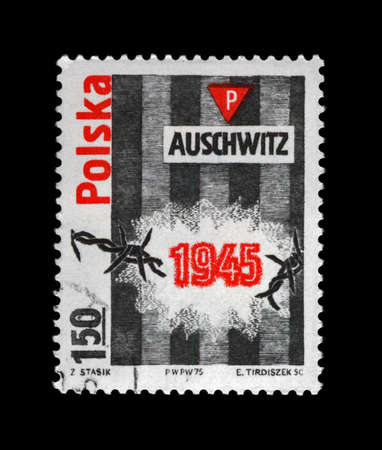 treblinka: Auschwitz concentration camp liberation, vintage cancelled stamp printed in Poland, CIRCA 1975