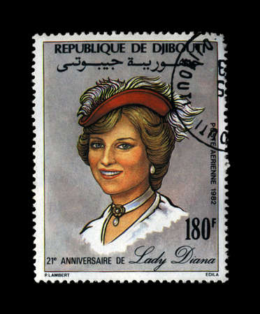 lady diana: DJIBOUTI - CIRCA 1982: cancelled stamp printed in Republique de Djibouti shows Lady Diana, Princess Of Wales, circa 1982. vintage post stamp isolated on black background.