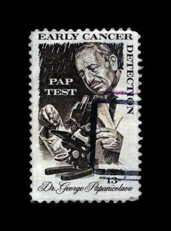 USA - CIRCA 1978: cancelled stamp printed in United States shows Greek pioneer in cytopathology and early cancer detection Georgios Papanikolaou (1883-1962), circa 1978. vintage post stamp on black background.
