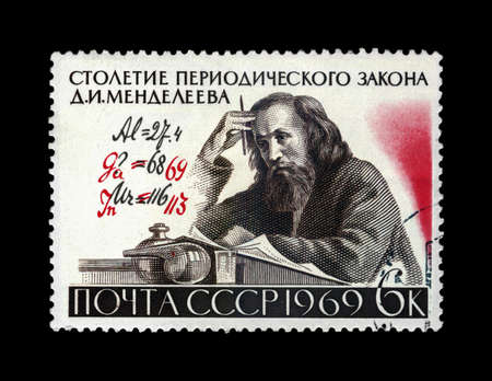 USSR - CIRCA 1969: canceled stamp printed in USSR shows famous scientist Dmitri Mendeleev (1834-1907) with authors Formula corrections, Century of the Periodic Law (classification of elements) formulated by D.I. Mendeleev, circa 1969. vintage post stamp