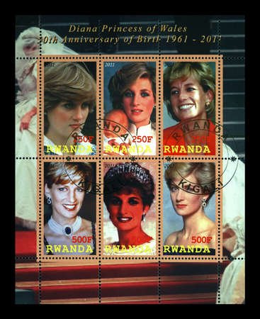 princess Diana, cancelled stamp printed in Rwanda dedicated to 50th anniversary of birth of princess Diana, circa 2011. vintage post stamp isolated on black background.