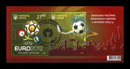 UKRAINE, KIEV - CIRCA 2012: cancelled stamp printed in Ukraine shows EURO 2012 Final Championship in Kiev, Ukraine, circa 2012. Editorial
