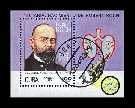 Robert Koch, tuberculosis scientist, explorer, stamp of Cuba,150 year of birth anniversary, circa 1993