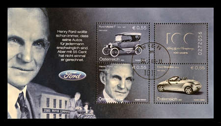 AUSTRIA - CIRCA 2003: stamp printed in Austria shows Henry Ford (1863-1947), American captain of industry and a business magnate, the founder of the Ford Motor Company, circa 2003.