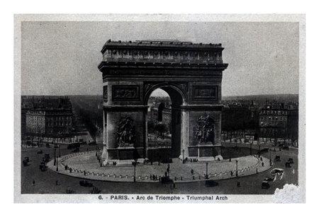 PARIS, FRANCE - CIRCA 1920s: vintage postcard printed in France shows Triumphal Arch with Paris city panorama, circa 1920s.
