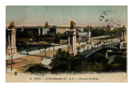 PARIS, FRANCE - CIRCA 1924: vintage canceled postcard printed in France shows Alexander III bridge, circa 1924.