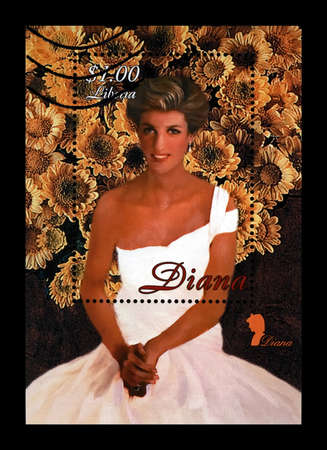 LIBERIA - CIRCA 1997: canceled stamp printed in Liberia dedicated to the memory of princess Diana, circa 1997. vintage post stamp isolated on black background. Editorial