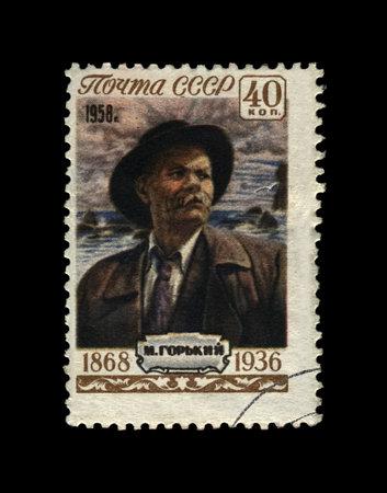 Maxim Gorky aka Alexei Maximovich Peshkov (1868-1936), famous Russian writer, dramatist, politician, USSR (Soviet Union), circa 1958. canceled vintage postal stamp isolated on black background. Editorial