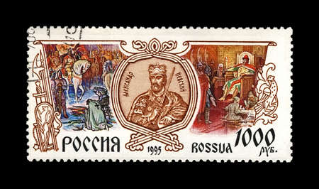 RUSSIA - CIRCA 1995: canceled stamp printed in Russia shows Prince Alexander Nevsky with sword, circa 1995. vintage post stamp isolated on black background. Editorial