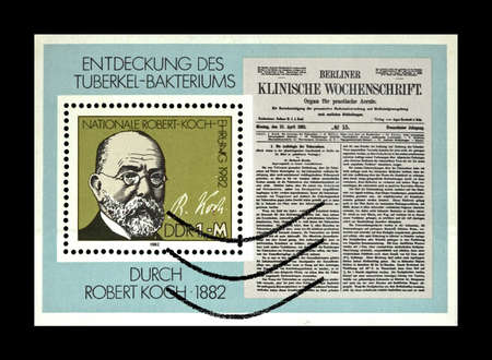 Robert Koch, tuberculosis scientist, explorer, TB Bacillus Centenary, circa 1982. vintage canceled postal stamp printed in DDR isolated on black background.