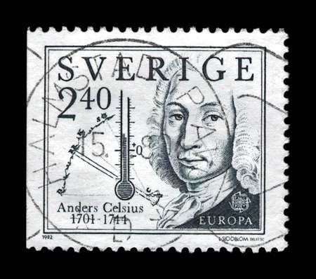 Anders Celsius (1701-1744), inventor of temperature scale, scientist, explorer, circa 1982. vintage postal stamp printed in Sweden isolated on black background.