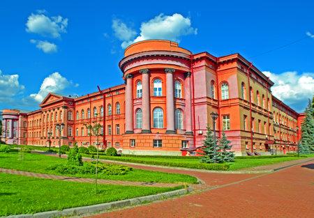 KIEV, UKRAINE - JUL 06: Taras Shevchenko National University red building on July 06, 2018 in Kiev, Ukraine. It was open by order of Nicholas I of Russia, founding father of the Saint Vladimir University. 報道画像