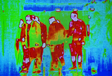 people group infected by influenza coronavirus under thermal imaging camera aka thermal unit, modern covid19 airport passenger crowd healthcare diversity Imagens