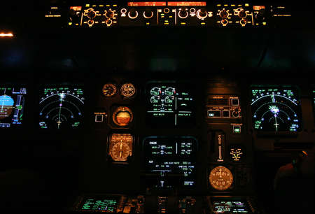 commercial aircraft panel at night Stock Photo