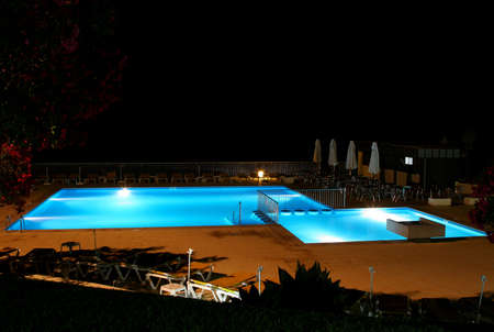 pool view at night photo
