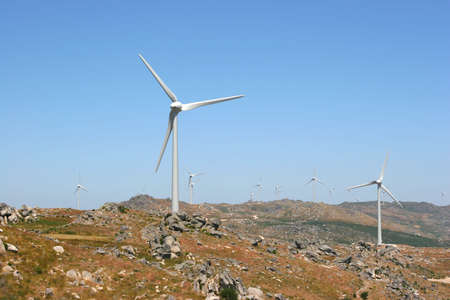 wind force: wind power generators farm against blue sky
