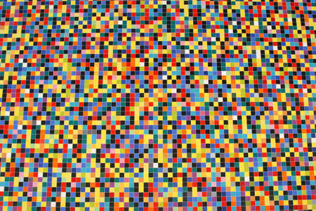 wide perspective of colorful mosaic tiles pattern on a wall Stock Photo