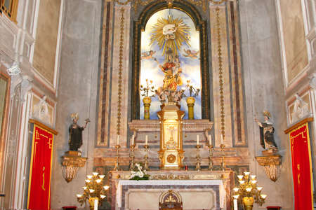 depictions: church altar with saints images