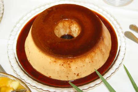 flan: perfect whole flan pudding Stock Photo