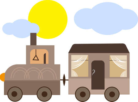 Steam train travels to distant lands Ilustrace