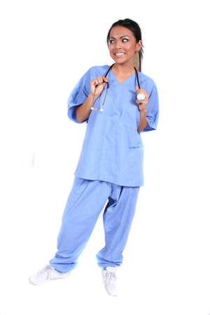 cna: Enfermera femenina linda, doctor, trabajador m�dico para el ajuste m�dico  gen�rico