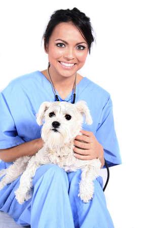 cna: Mujeres trabajador de la sanidad o veterinario con perro